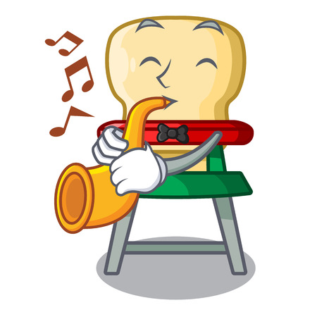 With trumpet cartoon baby sitting in the highchair vector illustration