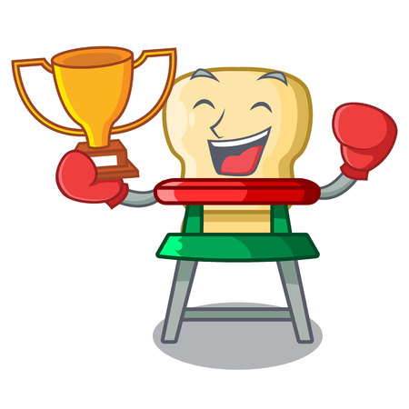 Boxing winner baby highchair isolated on the mascot vector illustration Stock Illustratie