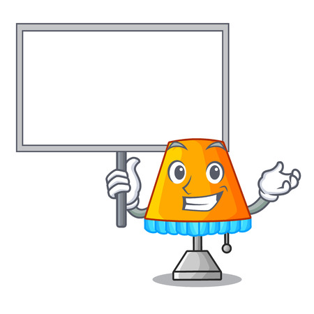 Bring board character table office lamp in indoor vector illustration