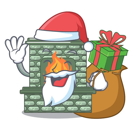 Santa with gift luxury fireplace isolated on the mascot Illustration