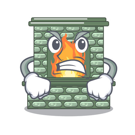 Angry cartoon stone fireplace with the flame vector illustration