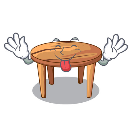 Tongue out wooden table isolated on the mascot vector illustration