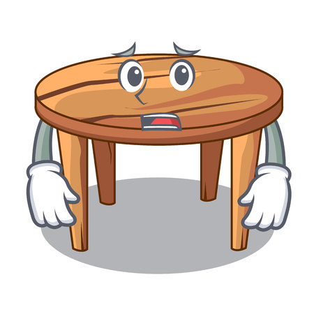 Afraid cartoon wooden dining table in kitchen Ilustrace