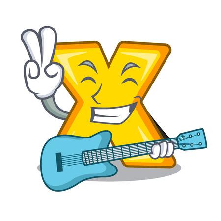 Avec le signe de multiplication de dessin animé de guitare pour calculer des maths
