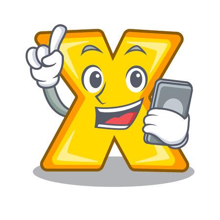 Avec le signe de multiplication de dessin animé de caractère de téléphone