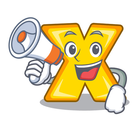 With megaphone character cartoon multiply sign