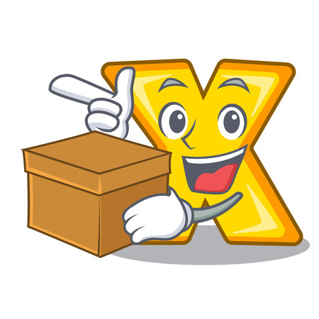With box cartoon multiply of a delete sign vector illustration