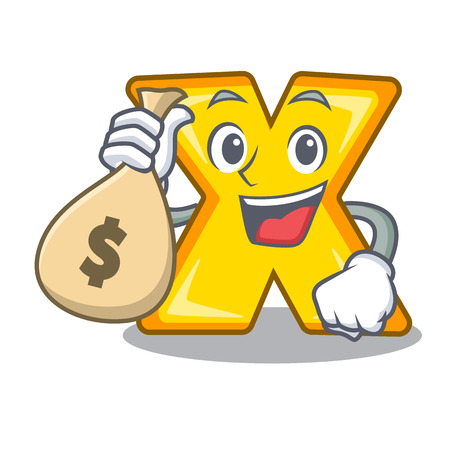 With money bag character cartoon multiply sign