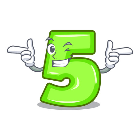 Wink cartoon house number five on wall vector illustration  イラスト・ベクター素材