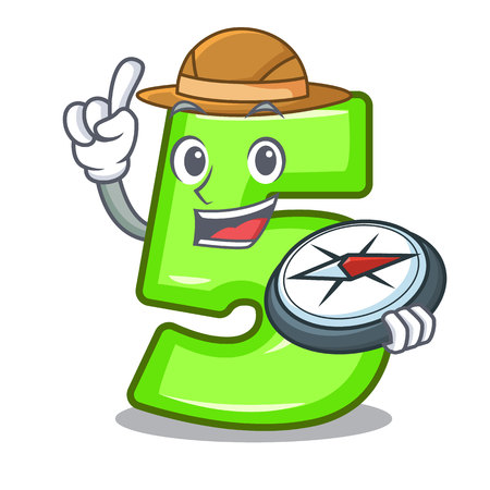 Explorer number five isolated on the mascot Illustration