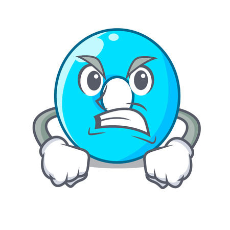 Angry cartoon the number zero color blue vector illustration Illustration