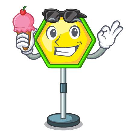 With ice cream cartoon traffic sign on traffic road