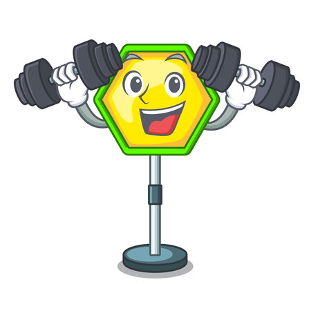 Fitness character traffic sign regulatory and warning