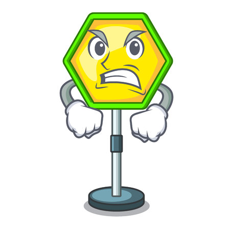Angry road traffic sign on the cartoon