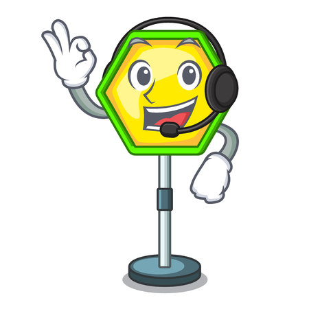 With headphone traffic sign isolated on the mascot