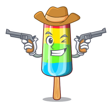 Cowboy colorful ice cream sticks on cartoon