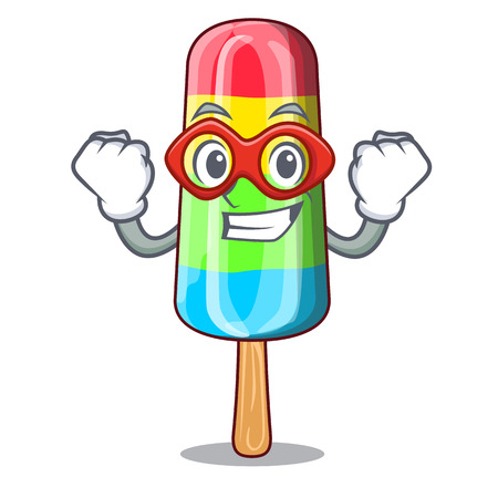 Super hero character beverage colorful ice cream stick Ilustração
