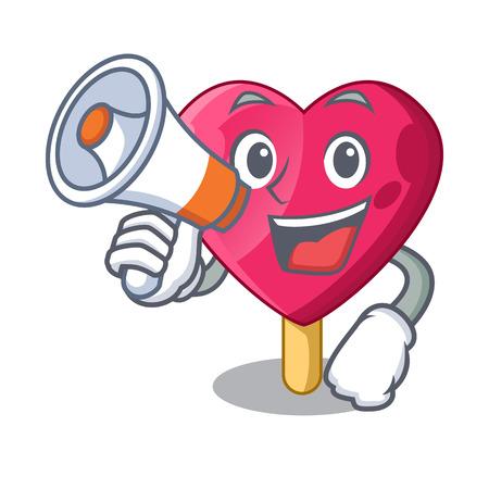 With megaphone chocolate heart on ice cream cartoon