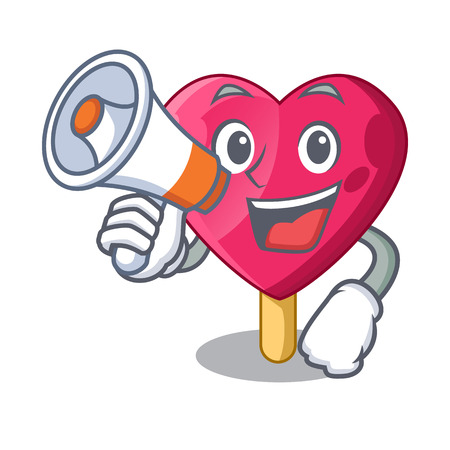 With megaphone chocolate heart on ice cream cartoon Banco de Imagens - 111089494
