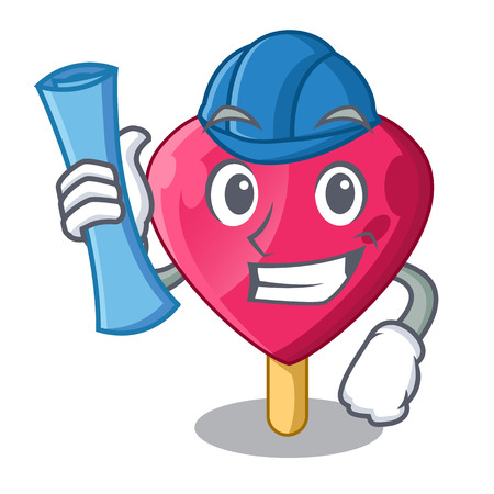 Architect heart character ice cream on candy Stock Illustratie