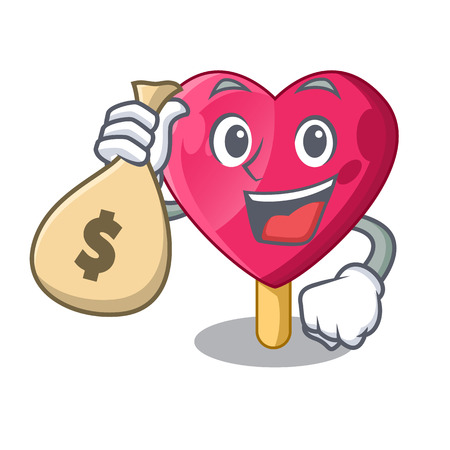 With money bag chocolate heart on ice cream cartoon