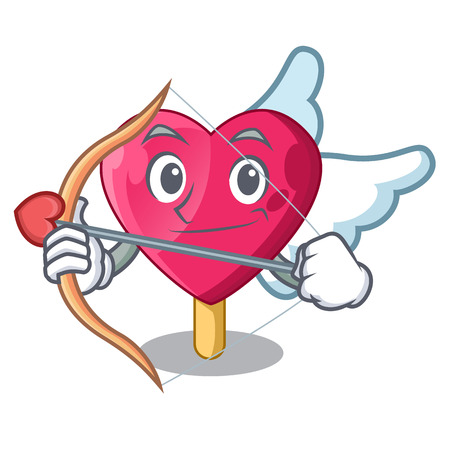 Cupid chocolate heart on ice cream cartoon