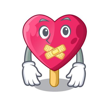Silent the shaped heart ice cream mascot vector illustration Illustration