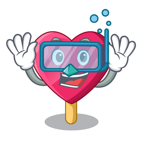 Diving heart character ice cream on candy vector illustration