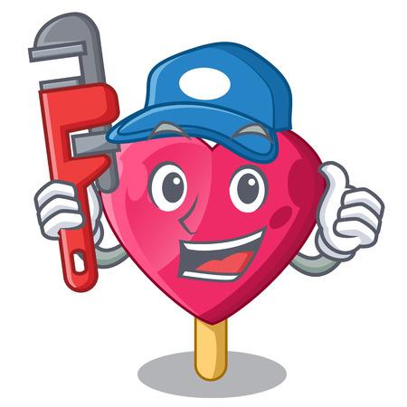 Plumber the shaped heart ice cream mascot vector illustration