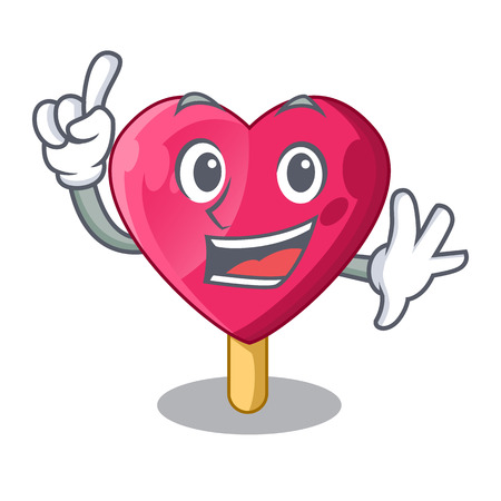 Finger the shaped heart ice cream mascot vector illustration