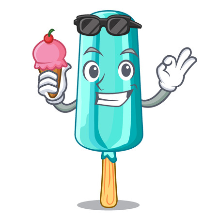 With ice cream ice cream character shaped cherry vector illustration