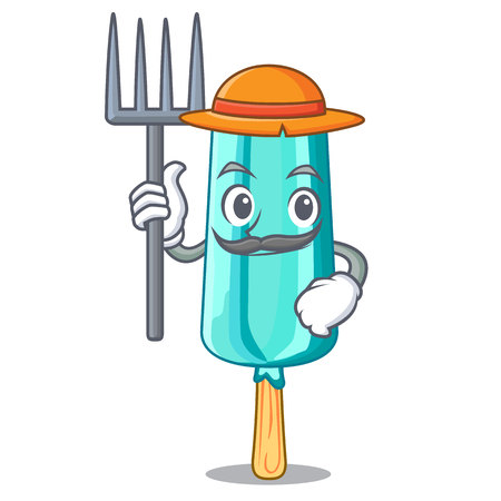 Farmer fruit ice cream on stick cartoon vector illustration