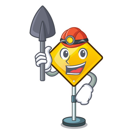 Miner Hazard warning attention sign sahaped cartoon Illustration