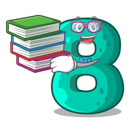 Student with book number eight volume the mascot