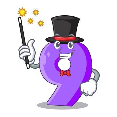 Magician paper cut number Nine letter mascot