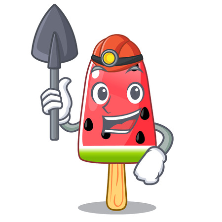 Miner Ice cream watermelon on shape mascot vector illustration
