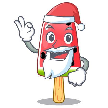 Santa Ice cream watermelon on shape mascot vector illustration Illustration