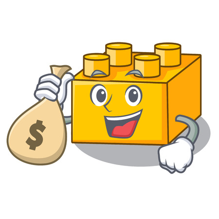 With money bag plastic building blocks cartoon on toy 矢量图像