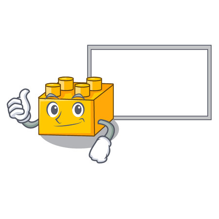 Thumbs up with board plastic building blocks cartoon on toy Иллюстрация