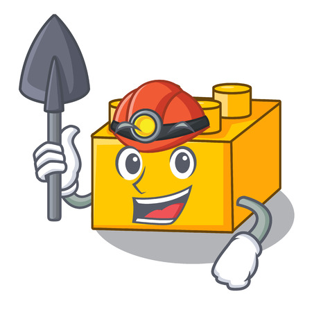Miner building Blocks toys Isolated on cartoon