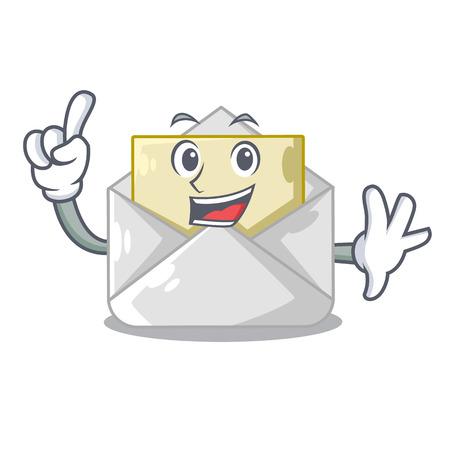 Finger envelope opened on shape white mascot Illustration