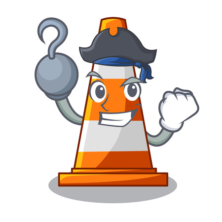 Pirate traffic cone on road cartoon shape