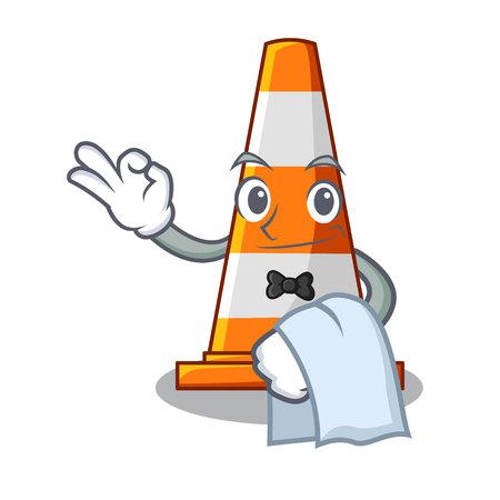 Serveur le cône de signalisation avec forme de caractère Vecteurs