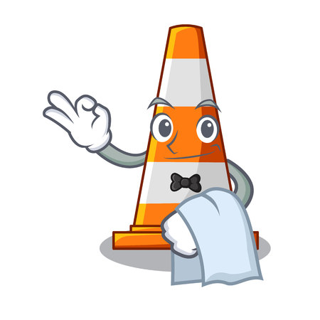 Waiter the traffic cone with character shape Vetores
