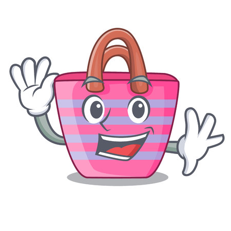 Waving Beach picnic bag on character shape vector illustration