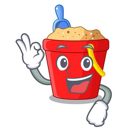 Okay beach bucket shape the fun character vector illustration