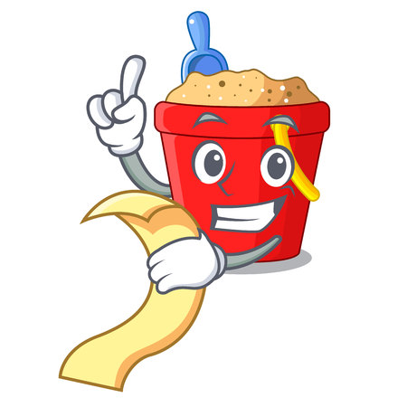 With menu picture beach bucket on shovel cartoon vector illustration