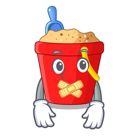 Silent beach bucket in string shape mascot vector illustration