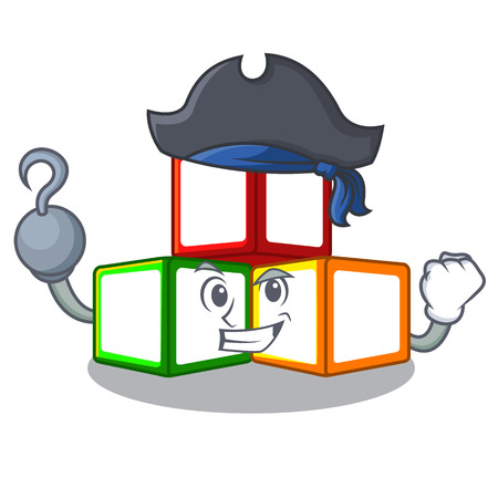 Pirate bright toy block bricks on cartoon Illustration
