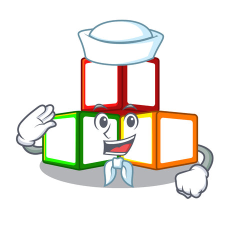 Sailor bright toy block bricks on cartoon vector